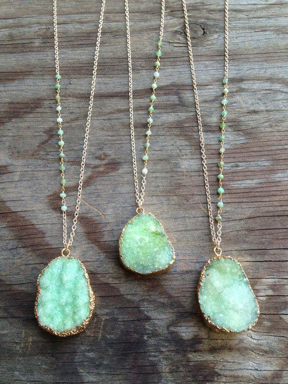 Green Druzy Necklaces with Chrysoprase Stone by joydravecky