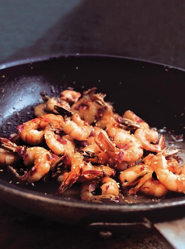 Recette de crevettes au miel et au sésame de Ricardo. Recette de fruits de mer