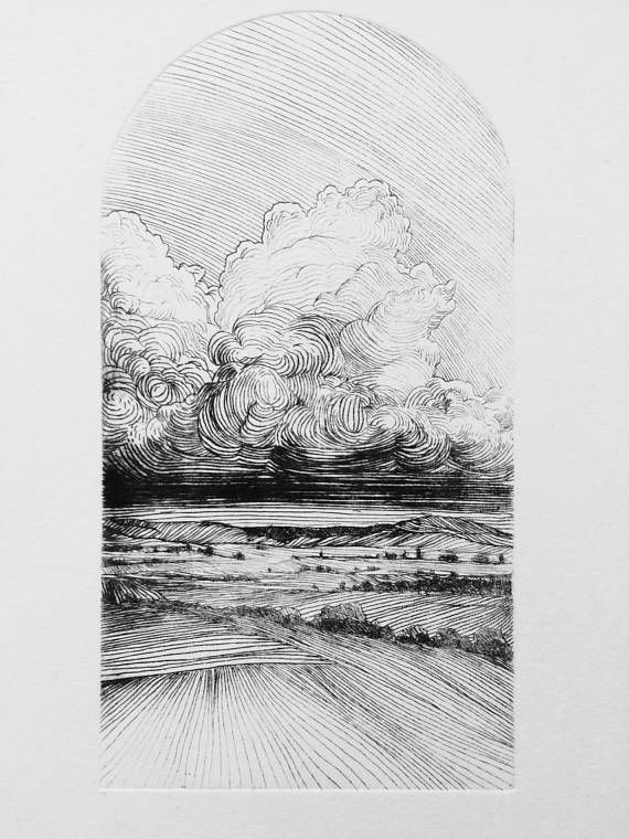 Intaglio Landscape, Original etching, Original landscape ...