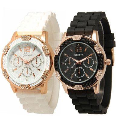 Geneva Watch Unisex Dress Watch Quartz 22cm Silicone GOLD watches Unisex Wristwatch Sports clock