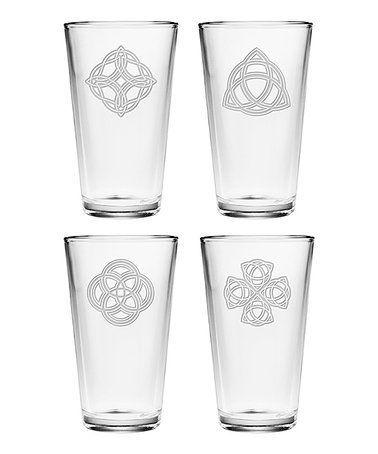 celtic knots pint glass set of four - Glass Beer Mugs