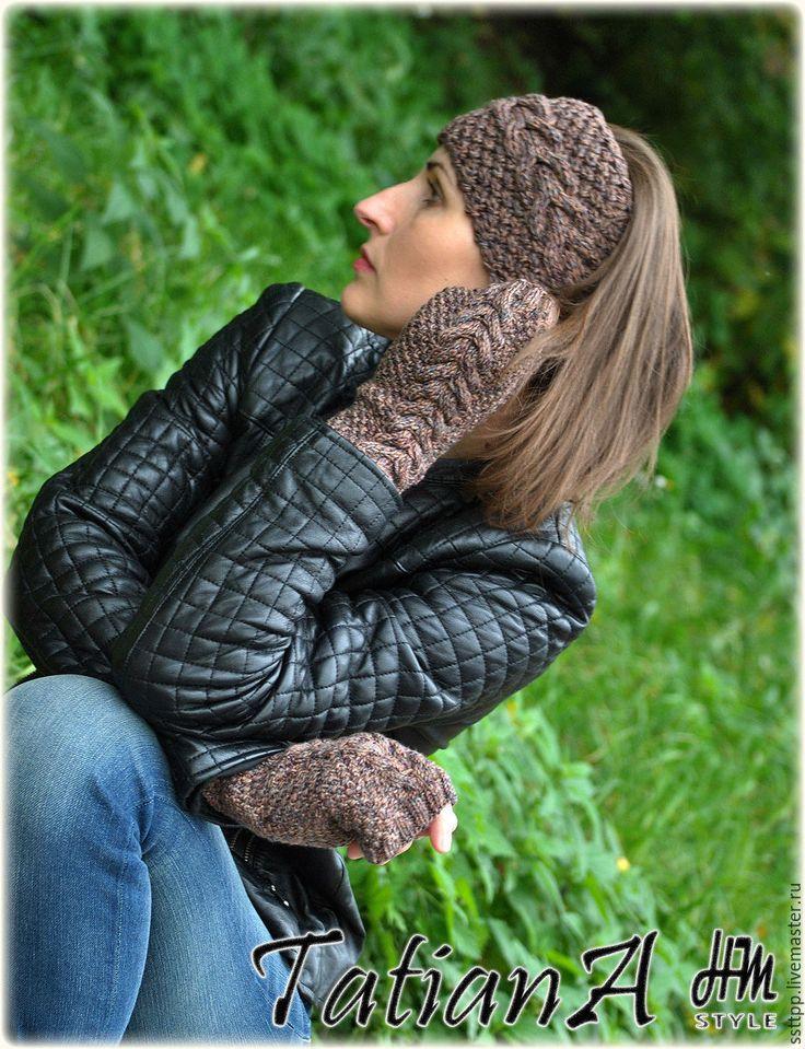 """Купить Меланжевый комплект """"Осенний"""" ( повязка на голову+митенки). - коричневый, повязка на голову, повязка на волосы"""