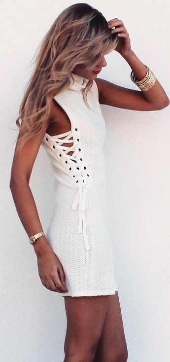 White Breathable Knit Fabric Tie-Up Dress | SaboSkirt