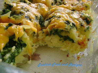 Patates ve Ispanakli Kaserol - Potato Spinach Casserole