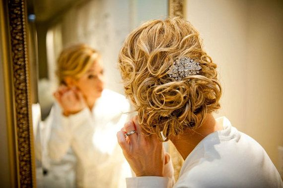 Bridal Hair Accessories Comb - Hannah a Couture Rhinestone Wedding Brooch on Metal Comb hair fascinator or accessory