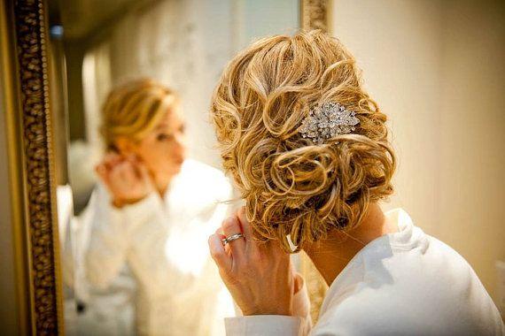 curly updo: Wedding Hair, Hairstyles, Hair Brooches, Hair Pieces, Rhinestones Wedding, Hair Style, Hair Clip, Bridal Hair Accessories, Hair Combs