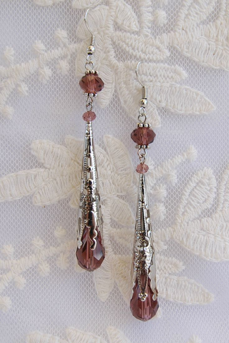 Neo Victorian Earrings, Antique Filigree Cone Earrings, Edvardian Style Earrings, Wine Teardrop Earrings, Medieval Earrings, Renaissance style Eaffings, Art Deco Earrings. Bohemian Earrings,  Boho Chic Earrings, Gift Idea, Girt for her, Gift for Woman