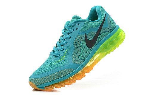 2014 men 621077-301 air max green black yellow sport running shoes