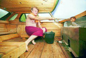 Inside the Saab sauna.