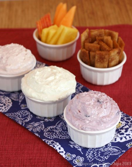 Red, White & Blue Greek Yogurt Cheesecake Dip Trio - just a couple ingredients and a few minutes to make a tasty & light sweet treat | cupca...
