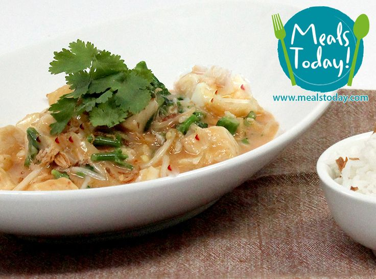 Fish & Coconut Yellow Curry with Steamed Rice & Greens  Available to order now, for delivery on Tue 18th November  www.mealstoday.com    #mealstoday