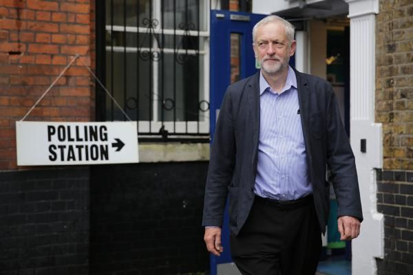 EU referendum. Labour Party leader Jeremy Corbyn leaves after casting his vote at a polling station in Islington, London, as voters head to the polls across the UK in a historic referendum on whether the UK should remain a member of the European Union or leave. Picture date: Thursday June 23, 2016. See PA story POLITICS EU. Photo credit should read: Daniel Leal-Olivas/PA Wire URN:26689528