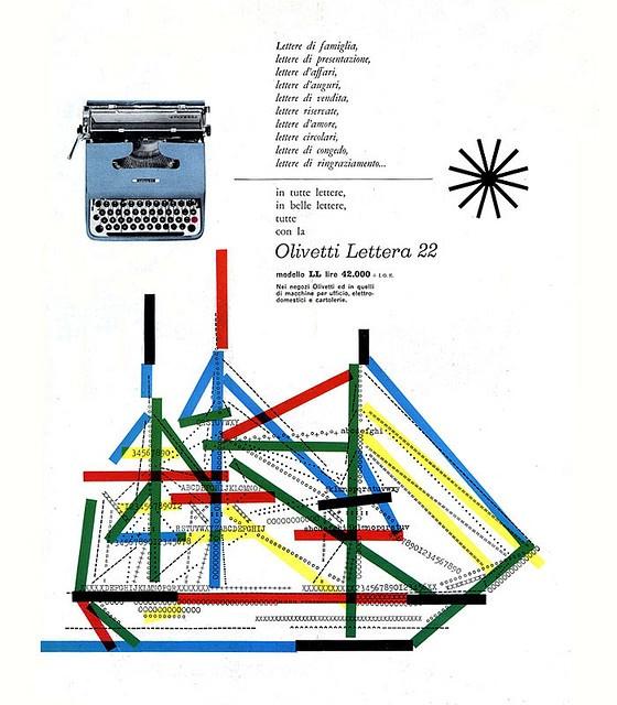 Olivetti Lettera 22 ad, 1954, by Giovanni Pintori