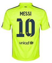 14-15 Football Shirt Barcelona Cheap Messi #10 Away Third Green Jersey [136]
