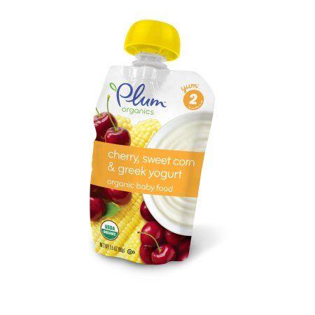 Plum Organics Organic Baby Food, Stage 2, Cherry, Sweet Corn & Greek Yogurt, 3.5 Oz