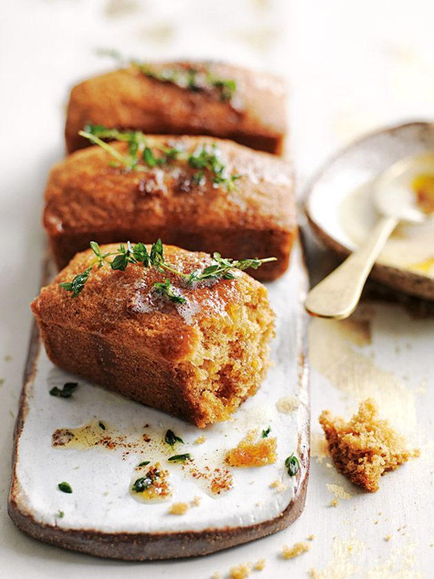 ... brown butter, honey and lemon thyme cakes ..