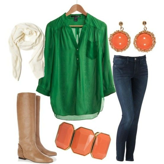 perfect for a fall day: Outfits, Fashion, Style, Green Top, Fall Outfit, Fall Winter, Color Combination