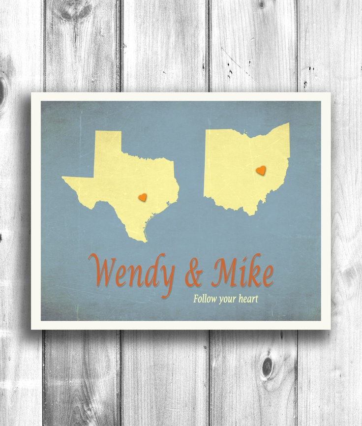 Customized Wall Decor US State Print Gift, Love Print, Typographic Poster, Long distance relationship sign digital print your heart - 11x14. $20.00, via Etsy.