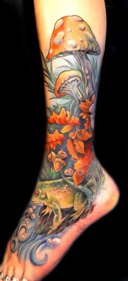 calf frog tattoo | ... Tattoo Gathering : Tattoos : Mathew Clarke : Frog, Mushroom Tattoo
