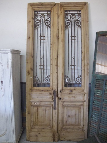 Pair Of Antique Pine Doors With Iron Inserts   Eclectic   Windows And Doors    Other