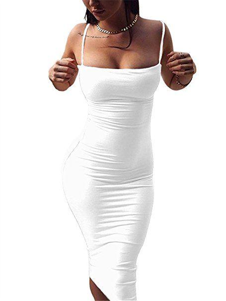 e353e772b GOBLES Women s Sexy Spaghetti Strap Sleeveless Bodycon Midi Club Dress at Amazon  Women s Clothing store