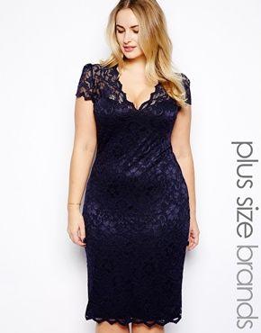 Lipstick Boutique Plus V Neck Bodycon Lace Dress
