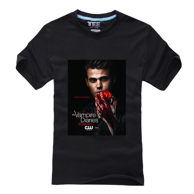 Футболки дневники вампира печать короткий рукав с круглым вырезом лето футболки мужчины в одежда Z96
