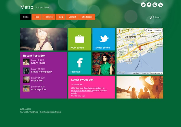 Inspired by Windows 8, Metro is a responsive, beautiful, minimal, and colorful theme that is perfect for blog and portfolio sites. Using the Tile custom post type, you can mimic the Metro design by showing various tiles: buttons, gallery sliders, images, maps, and text. Showcase your portfolio with either a single featured image or an image slider. Make your blog interesting by publishing different post formats such as: images, videos, quotes, galleries, links, etc.