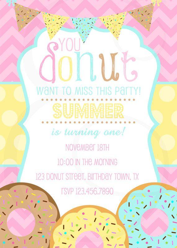 Girly Donut Birthday Party Invitation by EmmyJosParties on Etsy, $12.00