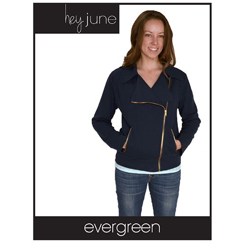 Hey June Evergreen Jacket Sewing Pattern - The Evergreen Jacket is a stylish yet cozy knit jacket with moto-styling, an asymmetrical zipper, and zippered pockets.  The yoke, collar, and front lapels are fully faced so your garment will be beautifully finished inside and out.  The sleeves are two-part, adding a little shaping and a fun detail on the back.  Make the Evergreen Jacket in a cozy sweatshirt fleece and you'll live in it all weekend.