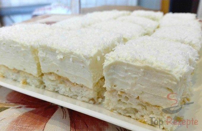 Wunderbarer Kuchen mit Eigelbcreme und Kokos