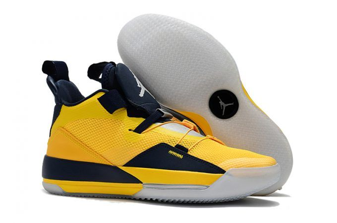 Mens Air Jordan 33 Michigan PE Yellow Navy Blue Basketball Shoes in ... f50344254