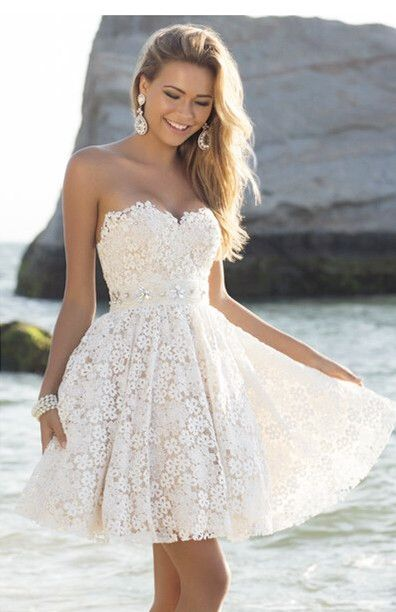 Cute Mini Sweetheart Lace Homecoming Dresses Cheap Short Summer Beach Custom Made Dresses for Juniors