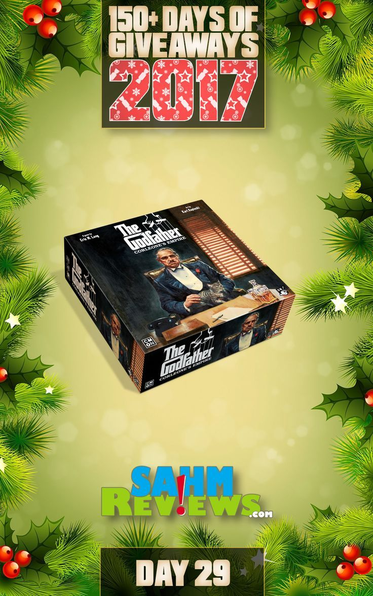 We're excited to be offering 150+ Days of Giveaways in conjunction with our Holiday Gift Guides.   One lucky SahmReviews.com winner will receive a copy of The Godfather: Corleone's Empire game from CMON (ARV $80)!