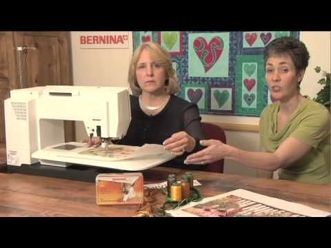 BERNINA: Thread Painting - YouTube. Free motion stitching on a painted background. Put two colors of thread in the needle. myb