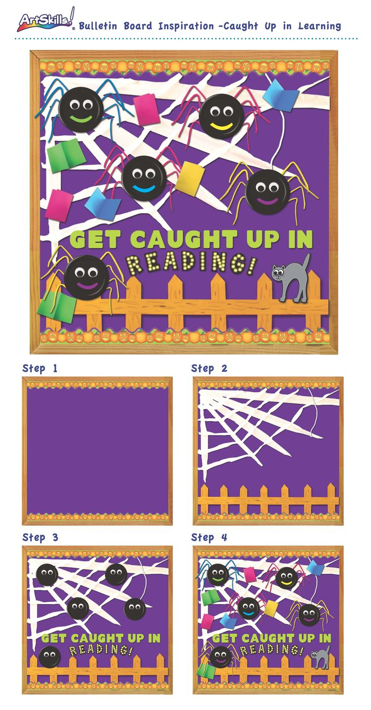 "Bulletin Board Inspiration: Caught Up in Learning - ""Reading"" #teach #reading #spiders"