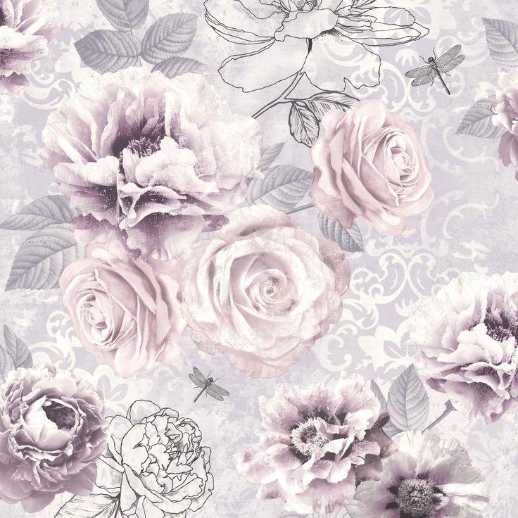 Graham Brown Fresco Romantic Ink Pink Purple Grey Floral