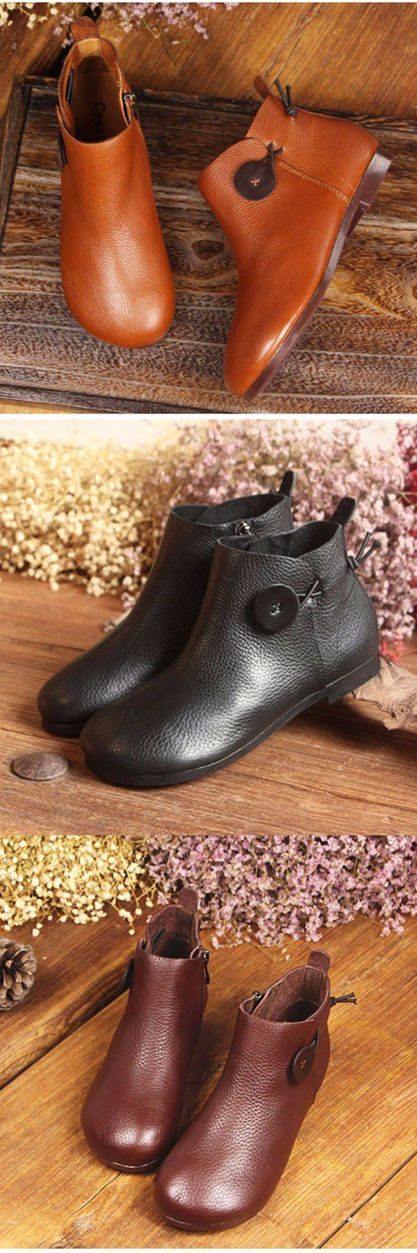 US$60.74  SOCOFY Genuine Leather Button Stitching Ankle Zipper Vintage Boots