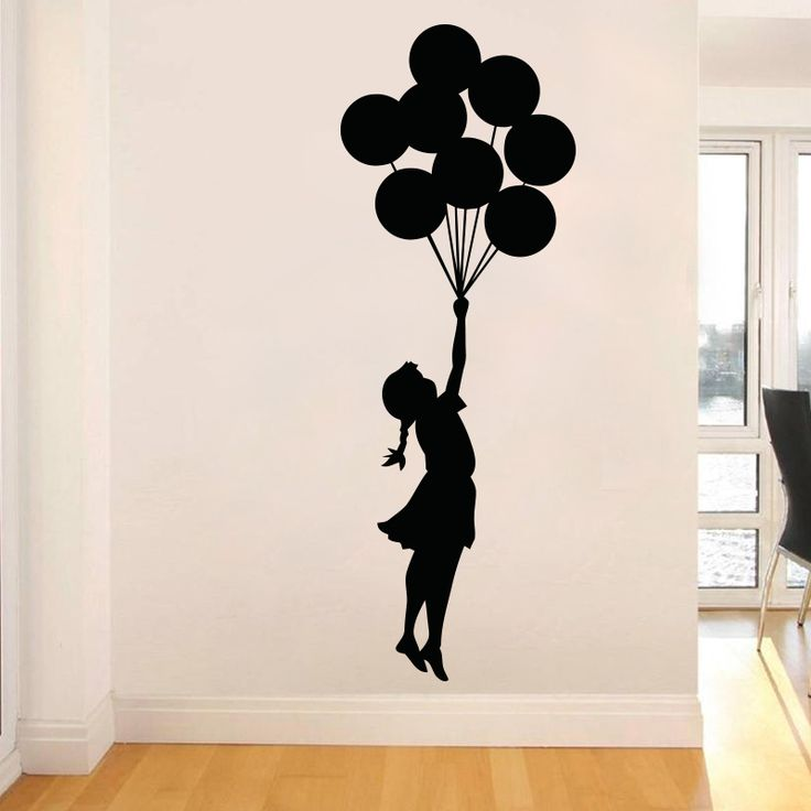 Art Design Banksy Wall Sticker Flying Balloon Girl home decor Vinyl wall decal Self Adhesive Graffiti DIY home decoration-in Wall Stickers from Home & Garden on Aliexpress.com | Alibaba Group