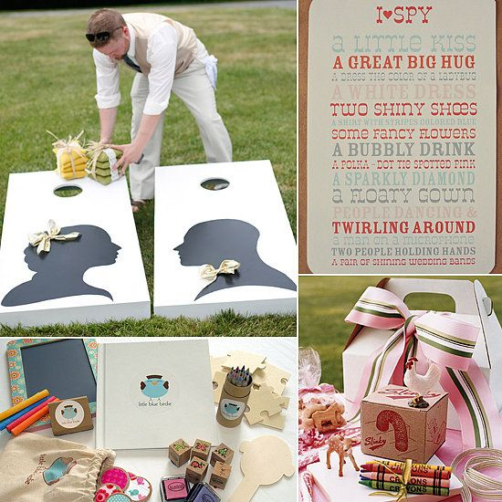 13 Fun Activities For the Littlest Wedding Guests --- I Spy, activity booklet, bubble station, story cards/Mad Libs, and many more! With printables too!