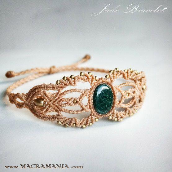 Jade macrame bracelet healing stone macrame by MacramaniaShop: