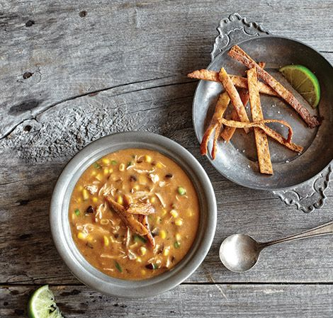 Vitamix Tortilla Soup (cut recipe in half for 48 ounce container; see cookbook)
