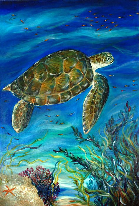 Swimming By The Coral Painting  - Swimming By The Coral Fine Art Print