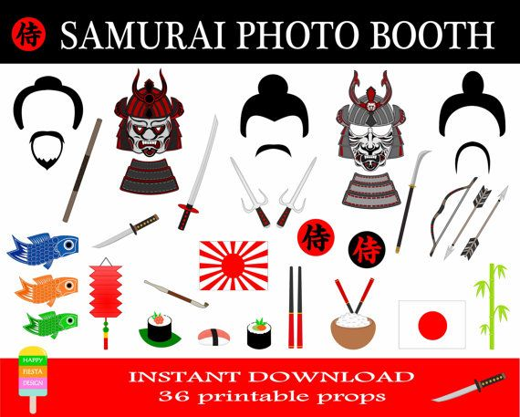 Samurai Photo Booth Props–36 Pieces-Japanese Warrior Photo Booth-Samurai Party Props-Printable Japan Photobooth Props-Instant Download