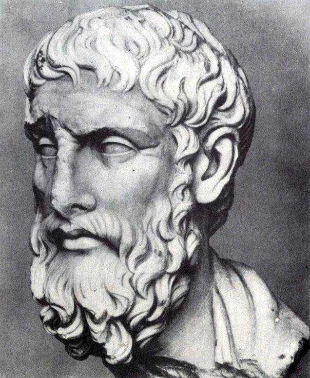 226 6. Портрет Эпикура. 3 в. до н. э. Вероятно, римская копия с утраченного прижизненного портрета. Мрамор. Нью-Йорк. Метрополитен-музей.
