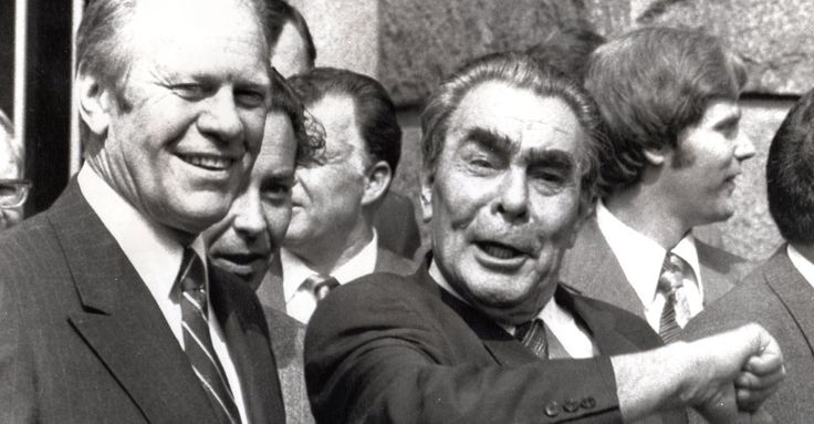 Brezhnev and Ford, 1975