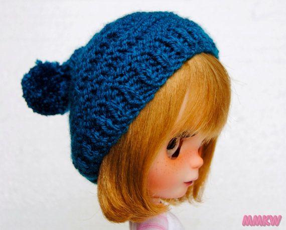 Blue pompom beanie hat for blythe by muimuikawaii on Etsy