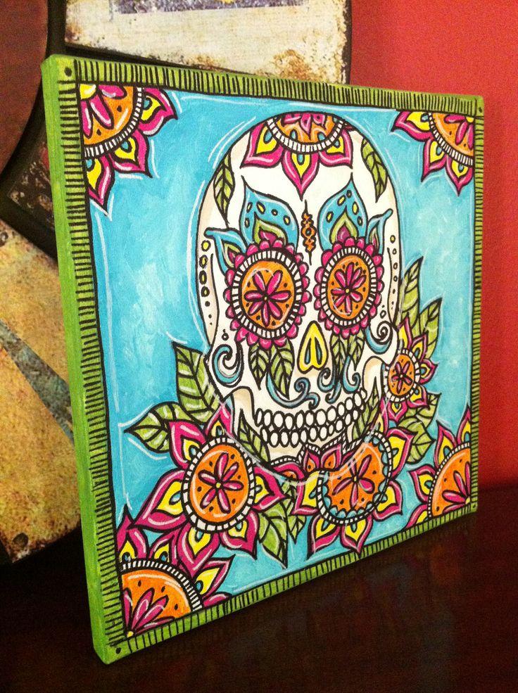 sugar skull   Sugar Skull Painting sugar skull angle – Jenny Hall Art