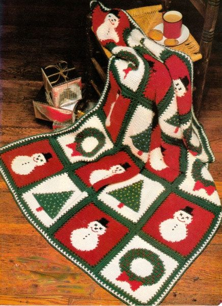 "Christmas Afghan CROCHET PATTERN  Make Snowman Wreath & Xmas Tree Holiday Afghans 44"" x 60"" Finished  PDF Instant Download"