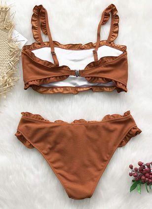 Plus Size Polyester Solid Bikinis Swimwear – Brown / XXL